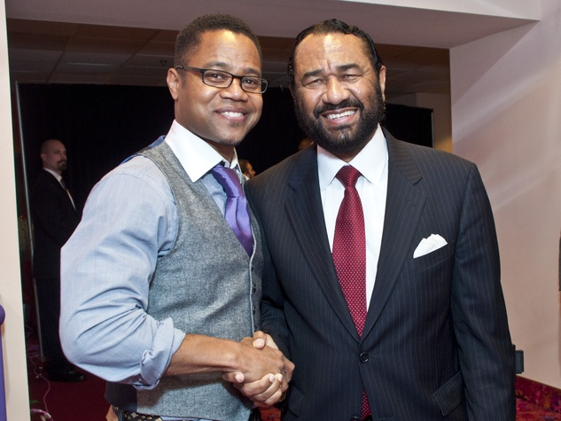 Cuba Gooding Jr., left, and U.S. Rep. Al Green were among the VIPS at the preview of Red Tails at Edwards Greenway theater. Photo by © Michelle